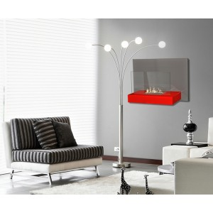 WALL-MOUNTED BIOETHANOL FIREPLACE  26X75X50cm RED-GREY
