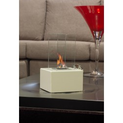 TABLE BIOETHANOL 2 GLASSES FIREPLACE 19Χ19Χ31cm OFF WHITE
