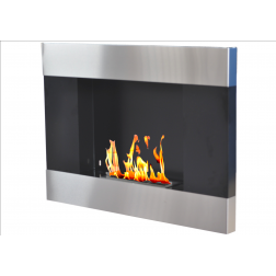 BIOETHANOL FRAME FIREPLACE WALL-MOUNTED 67X15.5X46 ST.STEEL-BLACK