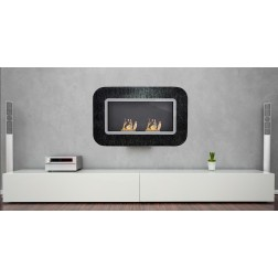 BIOETHANOL GLASS FRAME FIREPLACE WALL-MOUNTED 127X15.5X80 BLACK-SILVER WITH GLITTERING GLASS