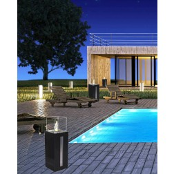 FLOOR-STADING COLUMN BIOETHANOL FIREPLACE 35X35X113cm WITH 4 GLASSES - BLACK-ST.STEEL
