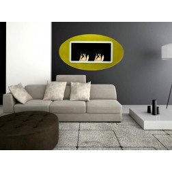 BIOETHANOL GLASS FRAME FIREPLACE WALL-MOUNTED 143X15.5X80 GOLD WITH GLITTERING GLASS