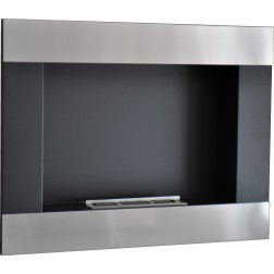 BIOETHANOL FRAME FIREPLACE WALL-MOUNTED 80X15.5X62 ST.STEEL-BLACK