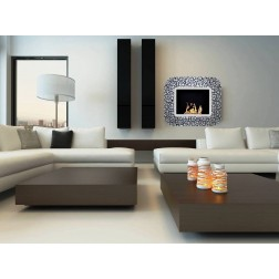 BIOETHANOL GLASS FRAME FIREPLACE WALL-MOUNTED 92X15.5X80 BLACK-SILVER WITH CRACKLE GLASS