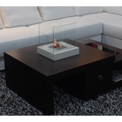 TABLE BIOETHANOL FIREPLACE 2 GLASSES  30X30X31cm OFF WHITE