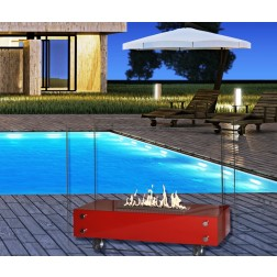FLOOR-STADING BIOETHANOL FIREPLACE RED